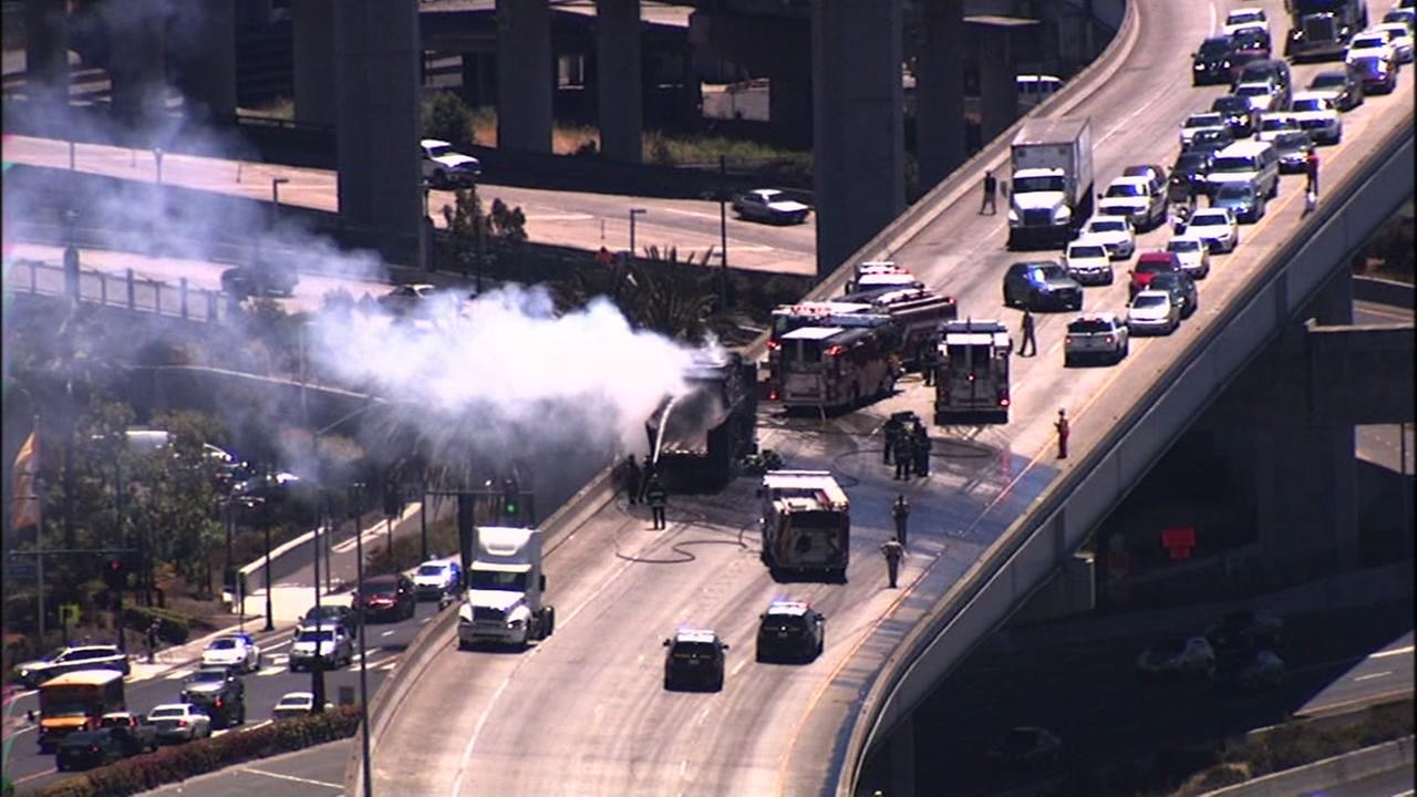 A big-rig thats on fire blocked traffic on northbound I-880 near Ikea in Emeryville, Calif. on July 8, 2016.