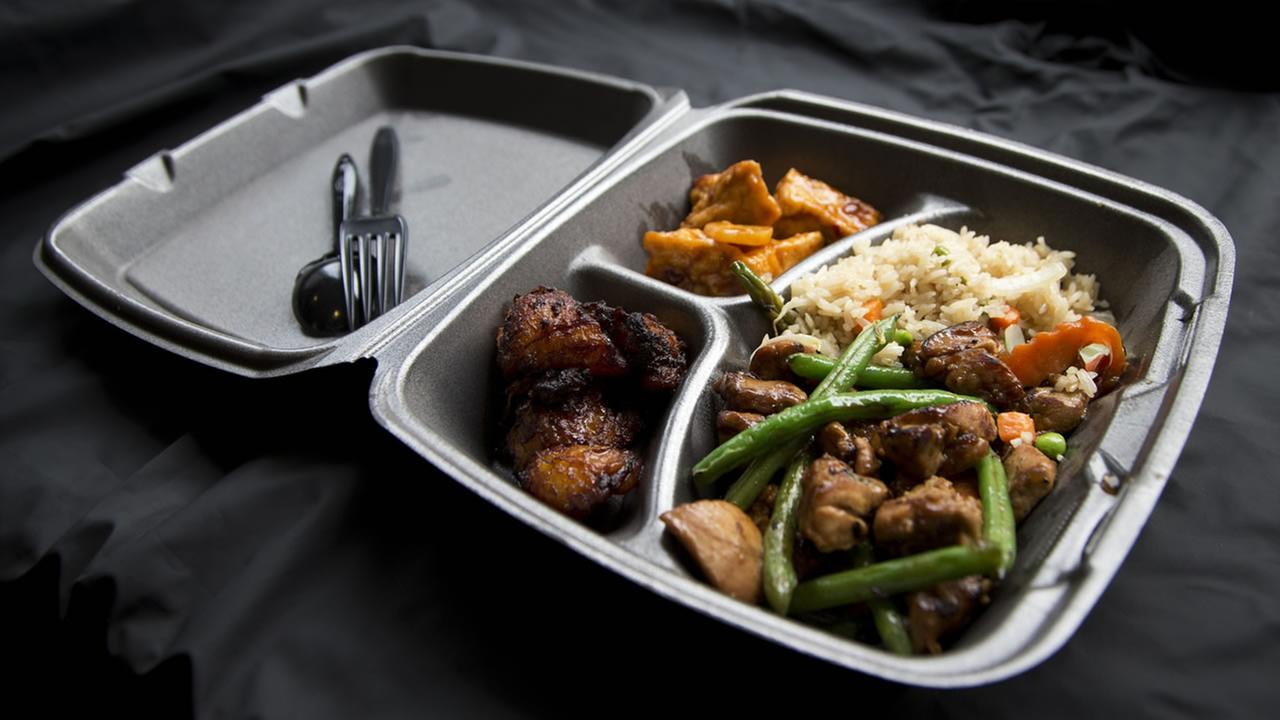 FILE: A Styrofoam container is shown with take out food at a restaurant in Washington, Thursday, Dec. 31, 2015.