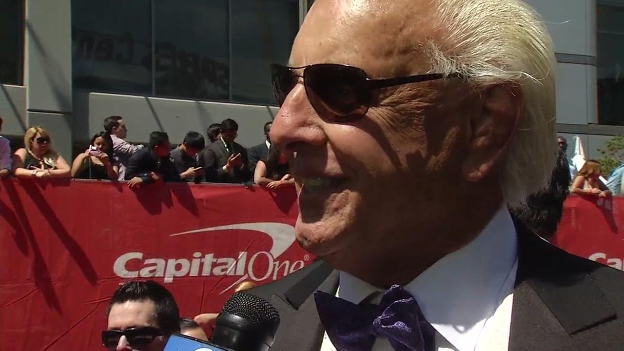 WWE star Ric Flair talked to ABC7s Larry Beil on the ESPYs red carpet in Los Angeles on Wednesday, July 13, 2016.