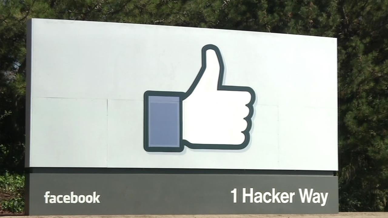 The thumbs up sign stands on the Facebook campus on Friday, July 15, 2016.