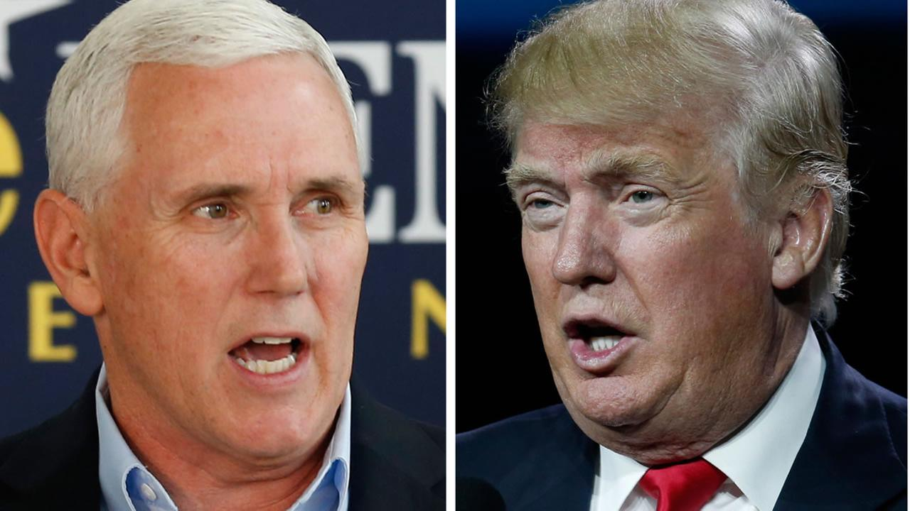 This photo combination of file images shows Indiana Gov. Mike Pence, left, and Republican presidential candidate Donald Trump.