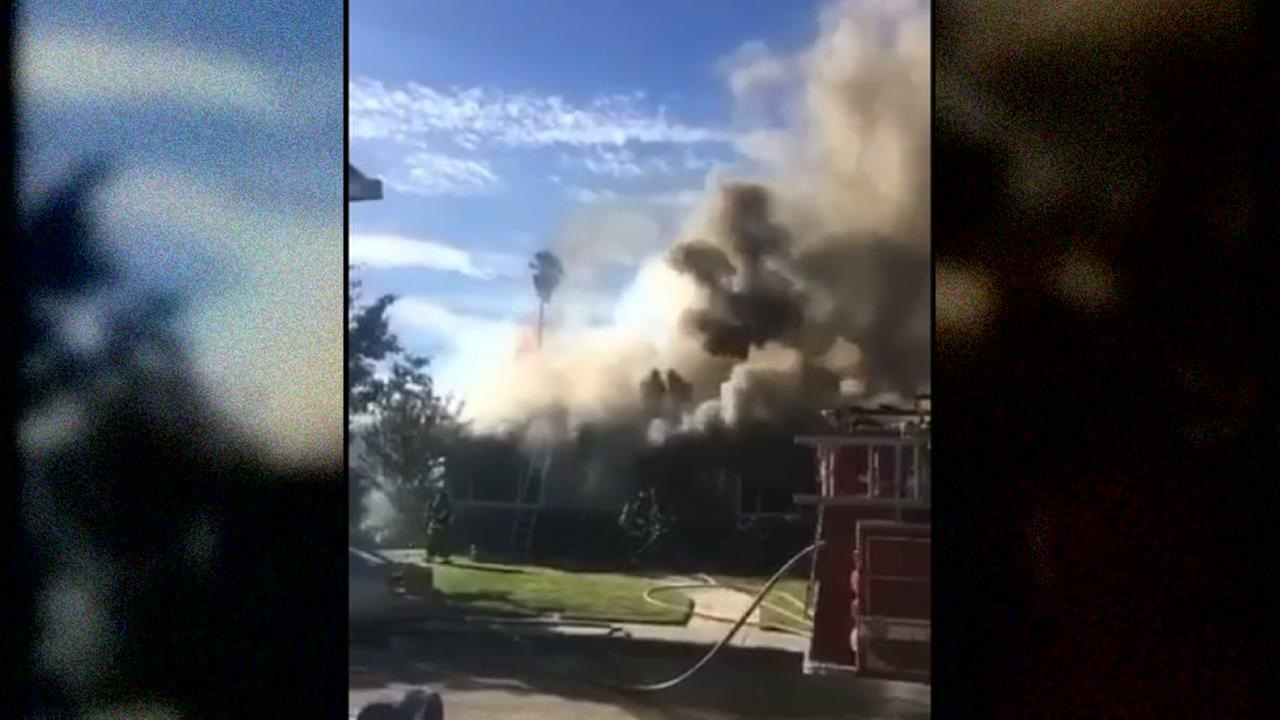 This image shows a house fire in Livermore, Calif. on July 15, 2016.