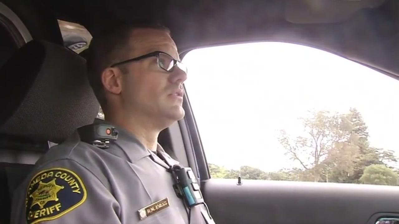 Alameda County Sheriffs Sgt. Rob Evans gave ABC7 a ride-along on Monday, July 18, 2016 in Oakland, Calif.
