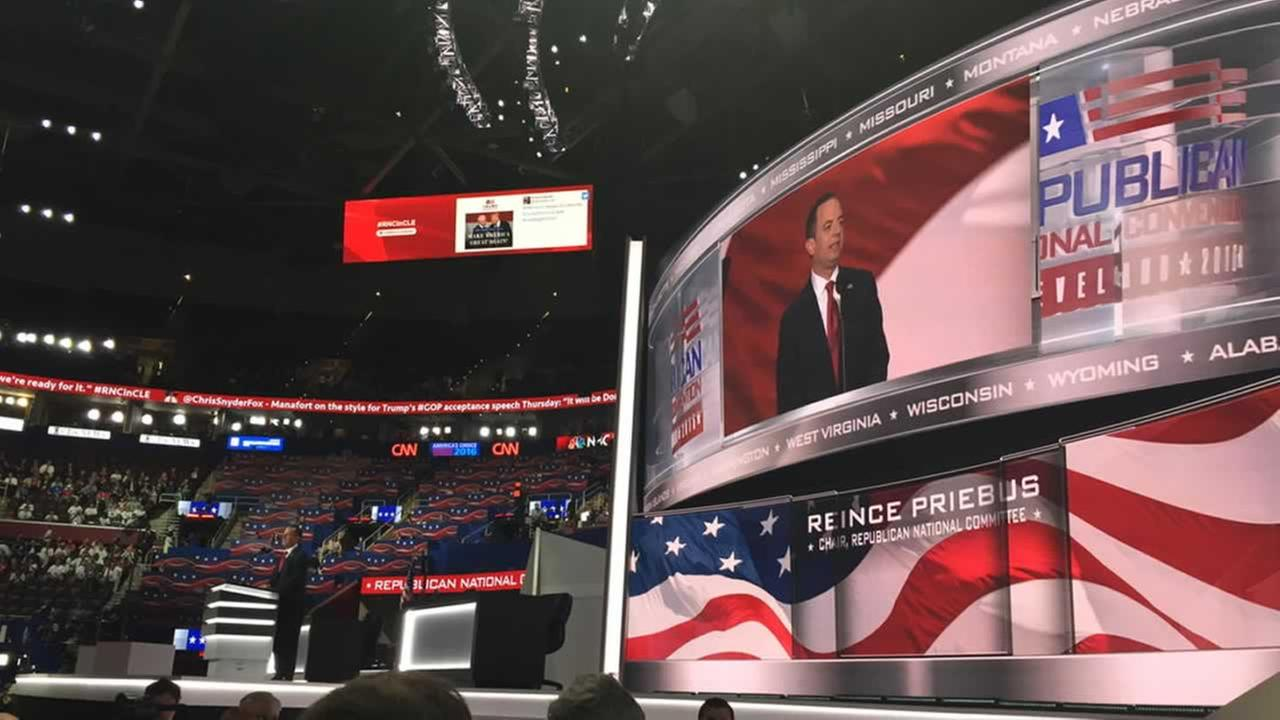 The RNC chair speaks inside Quicken Loans Arenain in Cleveland, Ohio on Monday, July 18, 2016.KGO-TV