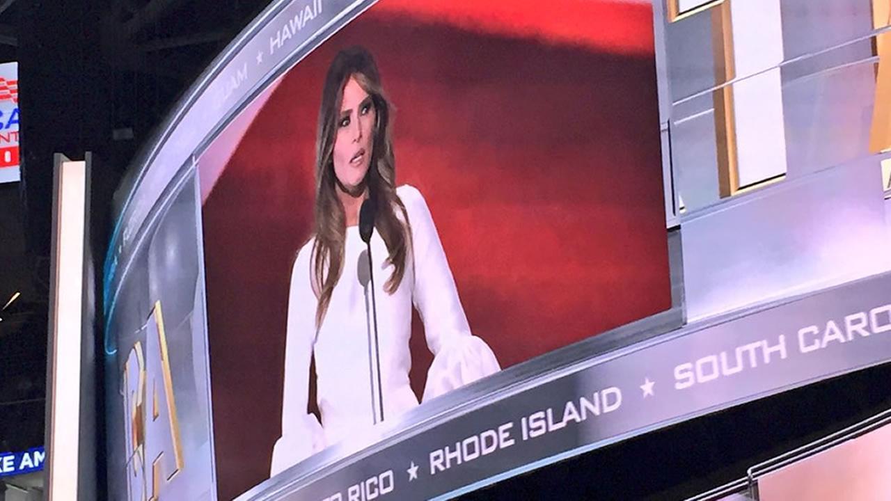 Melania Trump speaks inside Quicken Loans Arena in Cleveland, Ohio on Monday, July 18, 2016.KGO-TV