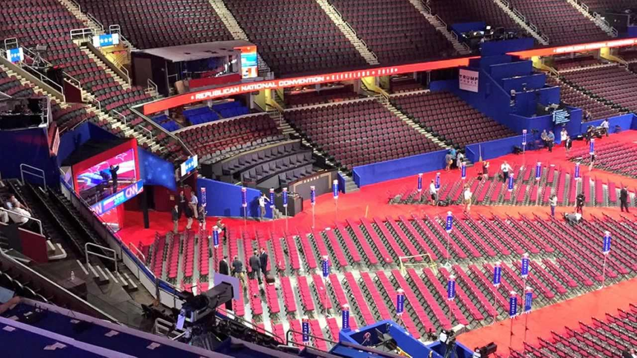 The Quicken Loans Arena in Cleveland, Ohio sits empty before the RNC began on Monday, July 18, 2016.KGO-TV