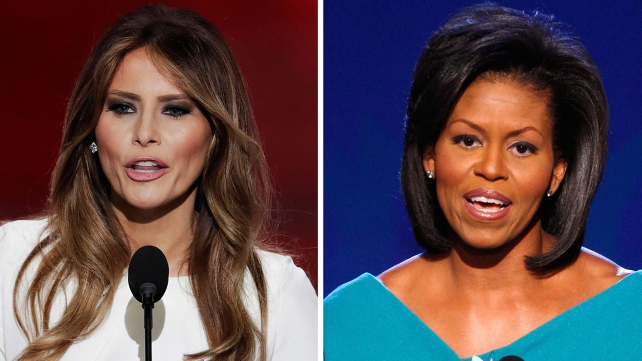 In this combination of photos from left to right: Melania Trump speaks during the RNC in Cleveland on July 18, 2016 and Michelle Obama speaks at the DNC in Denver on Aug. 25, 2008.