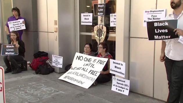<div class='meta'><div class='origin-logo' data-origin='none'></div><span class='caption-text' data-credit='KGO-TV'>Black Lives Matter protesters demonstrate outside police headquarters in Oakland, Calif. on Thursday, July 21, 2016.</span></div>