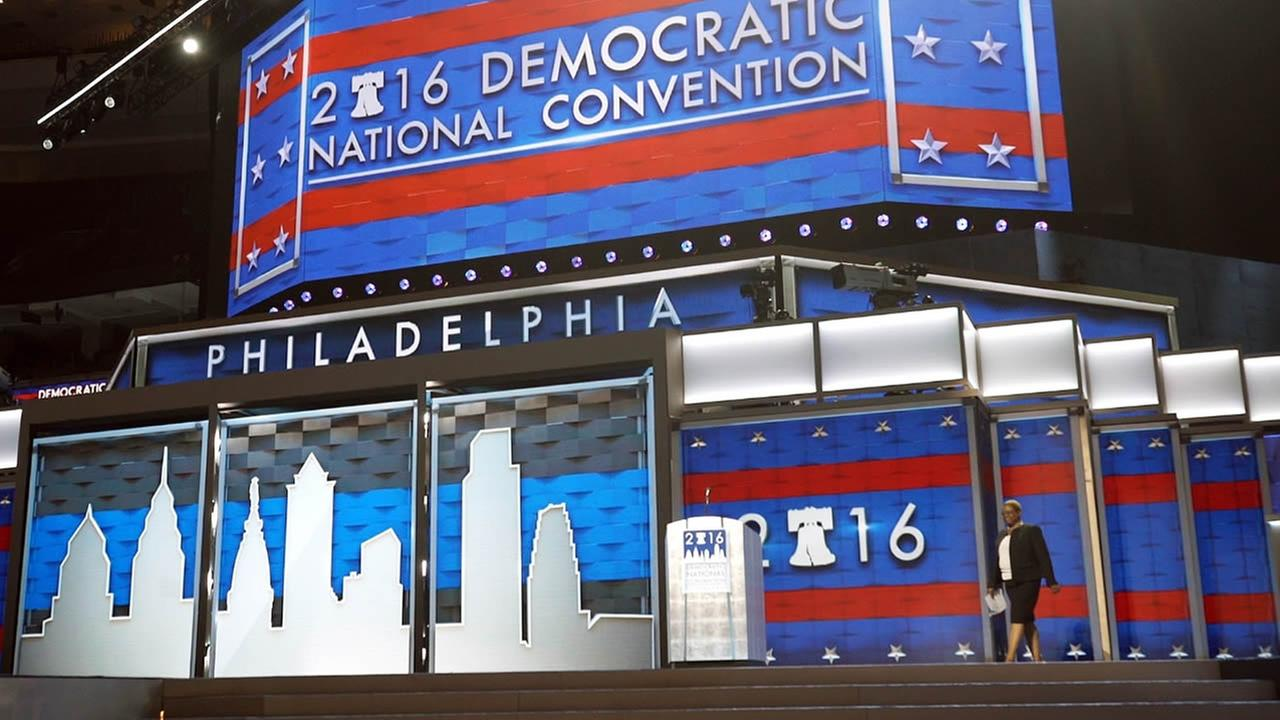 Leah Daughtry, CEO of the Democratic National Convention Committee, walks onto the stage Friday, July 22, 2016, at the Wells Fargo Center in Philadelphia, where the convention is scheduled to convene on Monday.
