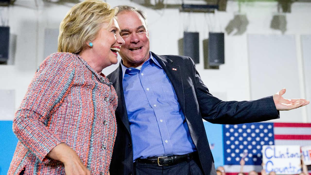 Presidential candidate Hillary Clinton and Sen. Tim Kaine, D-Va.,participate in a rally at Northern Virginia Community College in Annandale, Va., Thursday, July 14, 2016.
