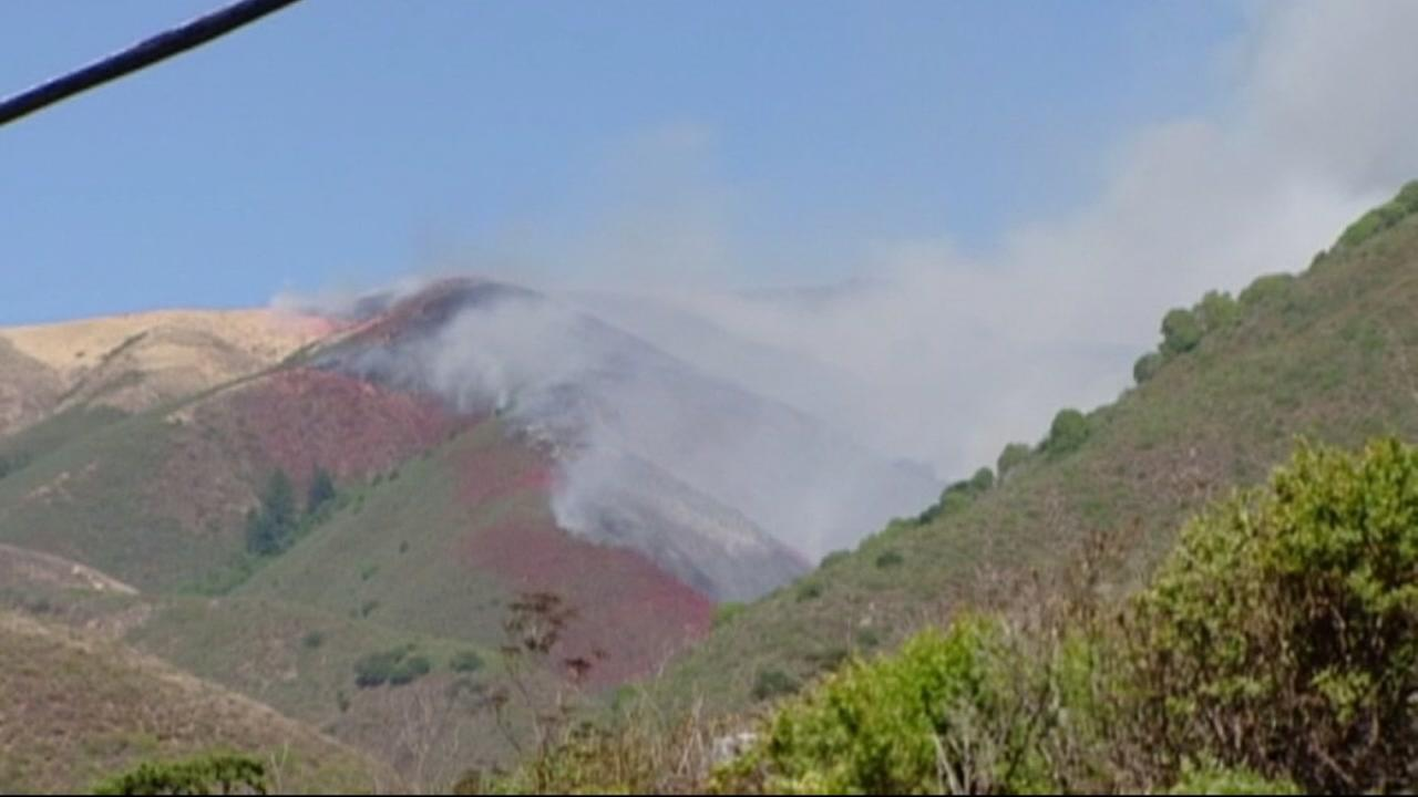 This image shows a wildfire in Big Sur on July 23, 2016.