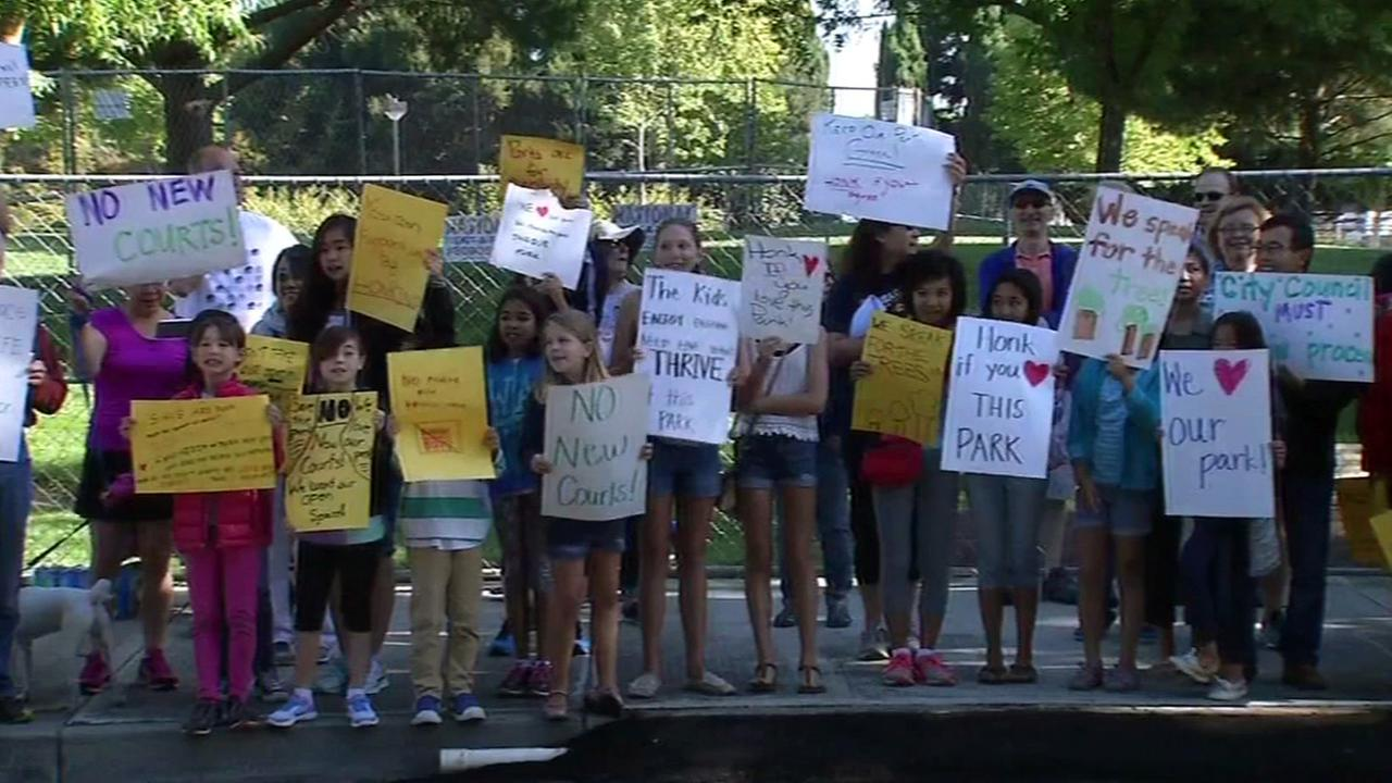 Protest of proposed tennis courts, Pleasanton, California, Monday, July 25 ,2016.