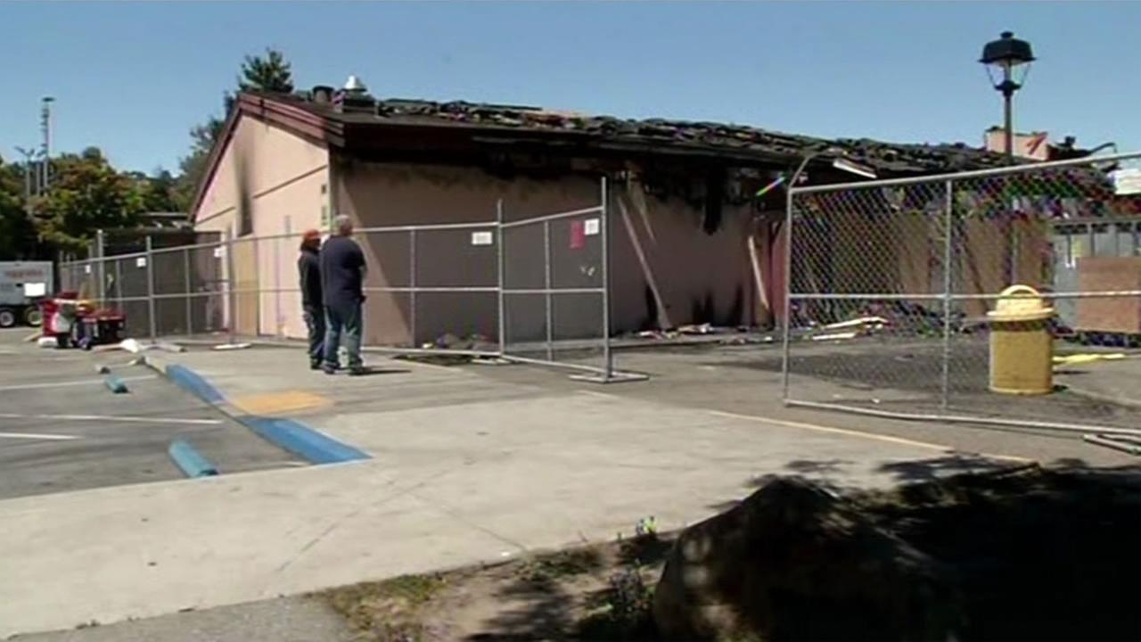 A fire destroyed a community center in Millbrae, Calif. on Thursday, July 21, 2016.