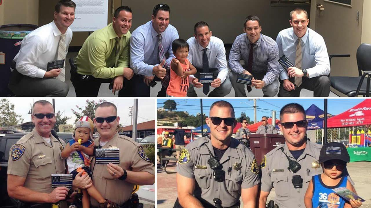 These undated images show Aiden, from San Leandro, Calif., posing for pictures with law enforcement officers from around the Bay Area.