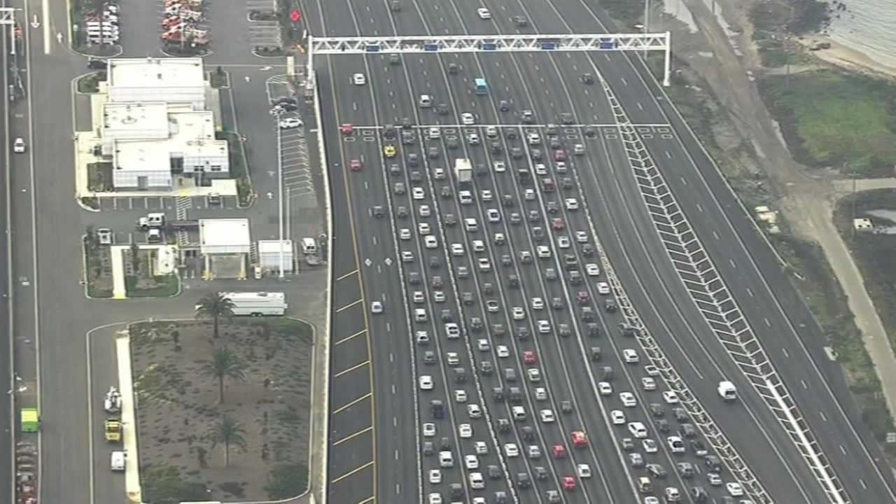 The Bay Bridge Toll Plaza is backed up at the metering lights in this undated traffic photo.