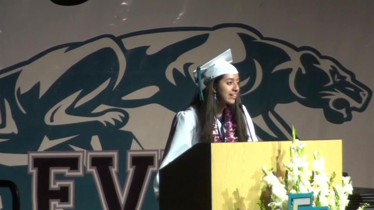 This image shows Swetha Revanur speaking as valedictorian of her Evergreen Valley High School in San Jose, Calif.