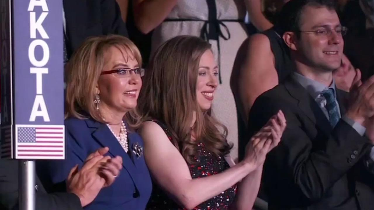 This image shows Chelsea Clinton and Gabby Gifford at the Democratic National Convention on July 28, 2016.