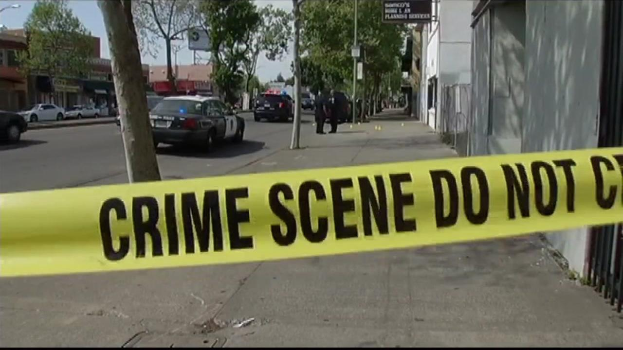 This undated image shows crime scene tape in Oakland, Calif.