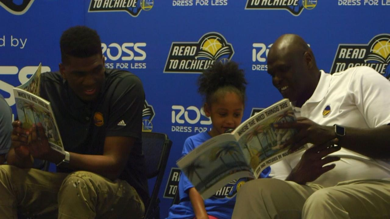Warriors forward Kevon Looney and Community Ambassador Adonal Foyle hosted a Read to Achieve event in Oakland, Calif. on July 28, 2016.