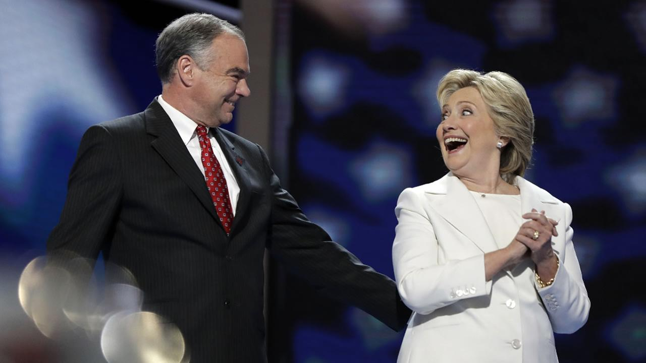 Hillary Clinton is joined by Democratic VP candidate, Sen. Tim Kaine  after her speech during the final day of the DNC in Philadelphia, Thursday, July 28, 2016.