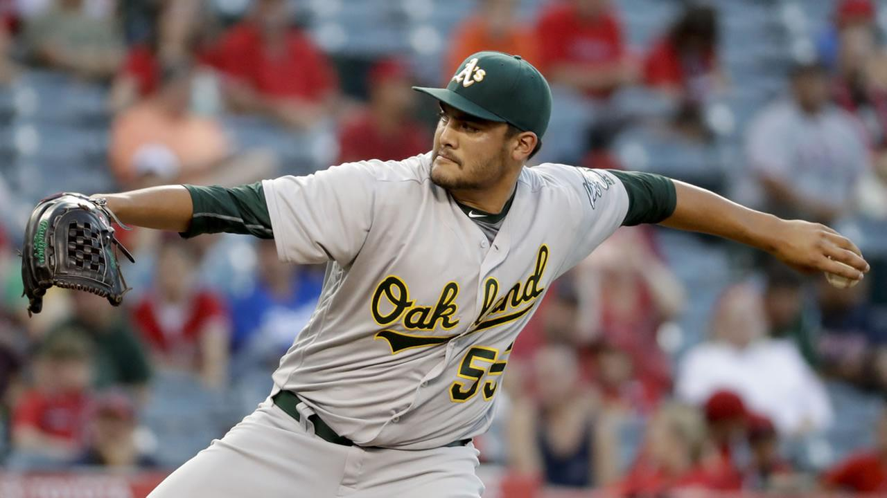 Oakland Athletics starting pitcher Sean Manaea throws Los Angeles Angels during the first inning of a baseball game in Anaheim, Calif., Tuesday, Aug. 2, 2016.