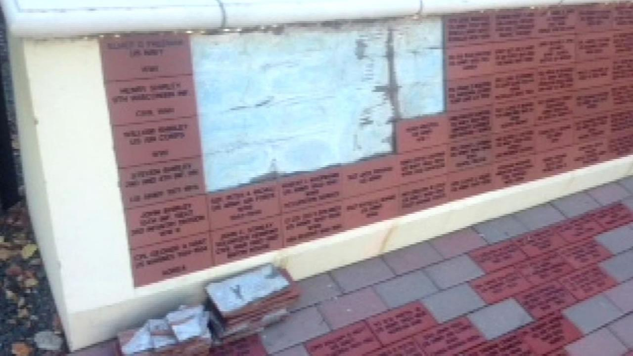 This undated image shows a vandalized Remember our Heroes wall that honors veteran Livermore, Calif.