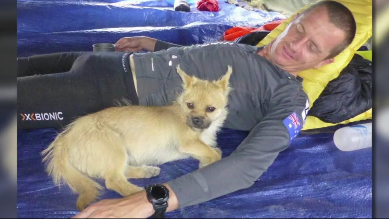 This image shows extreme marathon runner Dion Leonard with the dog he nicknamed Gobi after he tagged along for 77 miles of his trek.KGO-TV