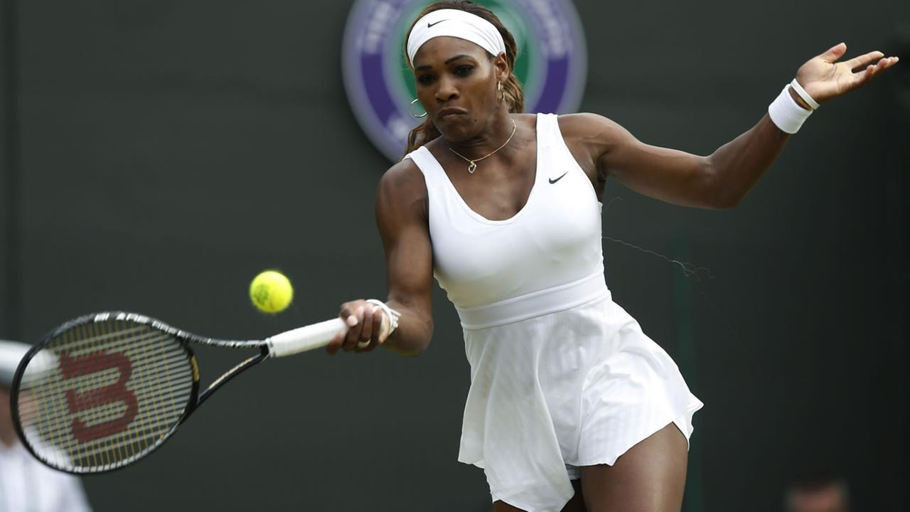 Serena Williams of U.S. at womens singles match at the All England Lawn Tennis Championships in Wimbledon, London, Saturday, June 28, 2014. (AP Photo/Sang Tan)