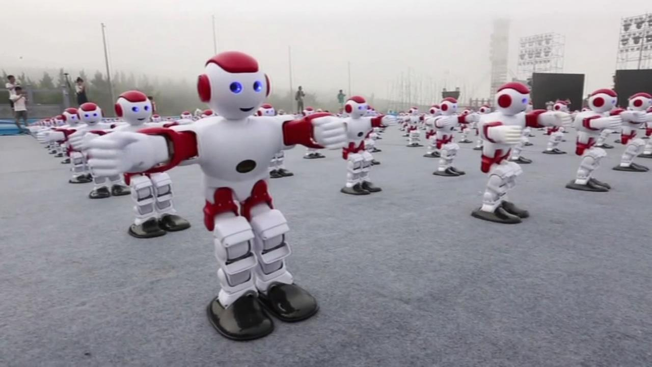 This image shows hundreds of robots dancing in China.