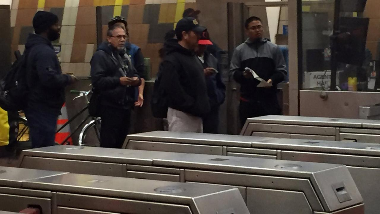 BART passengers at 24th Street station in San Francisco, Friday, August 12, 2016.
