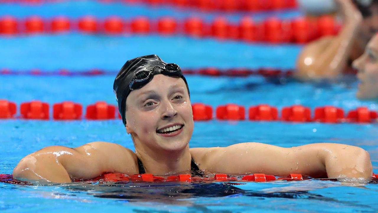 United States Katie Ledecky celebrates after setting a new world record and winning the gold after the womens 800-meter freestyle final during the swimming competitions at the 2016 Summer Olympics, Friday, Aug. 12, 2016, in Rio de Janeiro, Brazil.