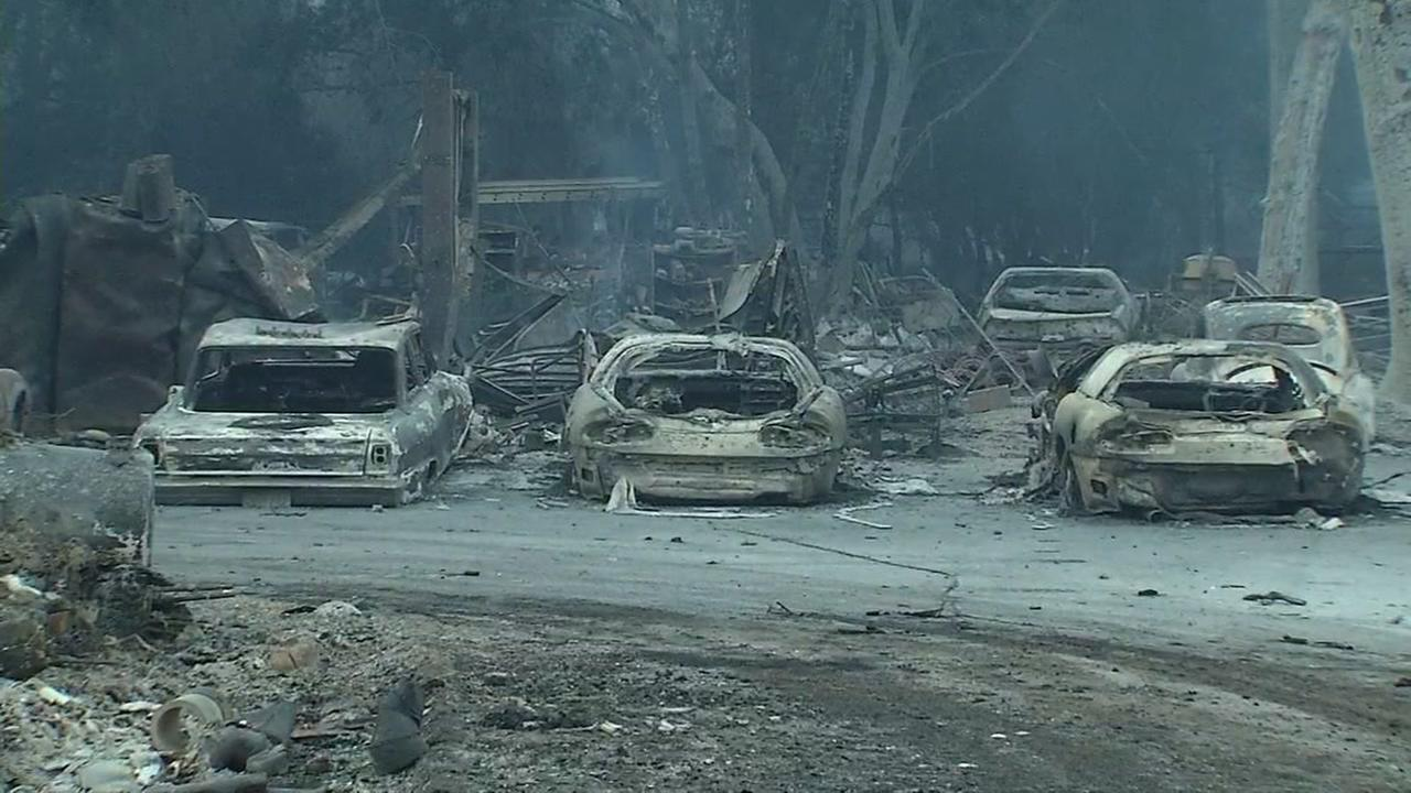 Clayton Fire destroys several vehicles in Lake County, California, Monday, August 15, 2016.