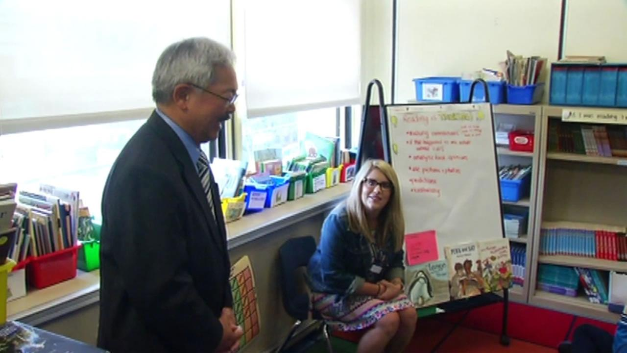 Mayor Ed Lee visited Miss Sundys classroom at Bryant Elementary School in San Francisco on Monday, August 15, 2016.