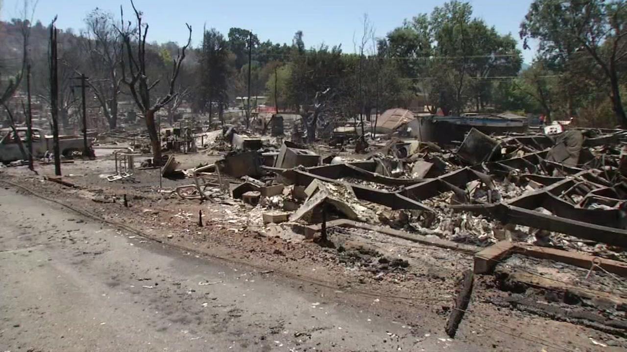 The aftermath of the massive Clayton Fire in Lake County, California on Monday, August 15, 2016.