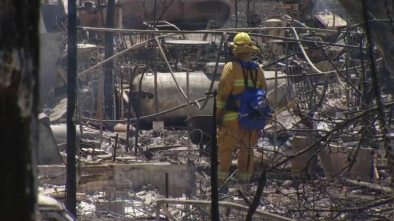 The aftermath of the massive Clayton Fire in Lake County, California on Monday, August 15, 2016.KGO-TV