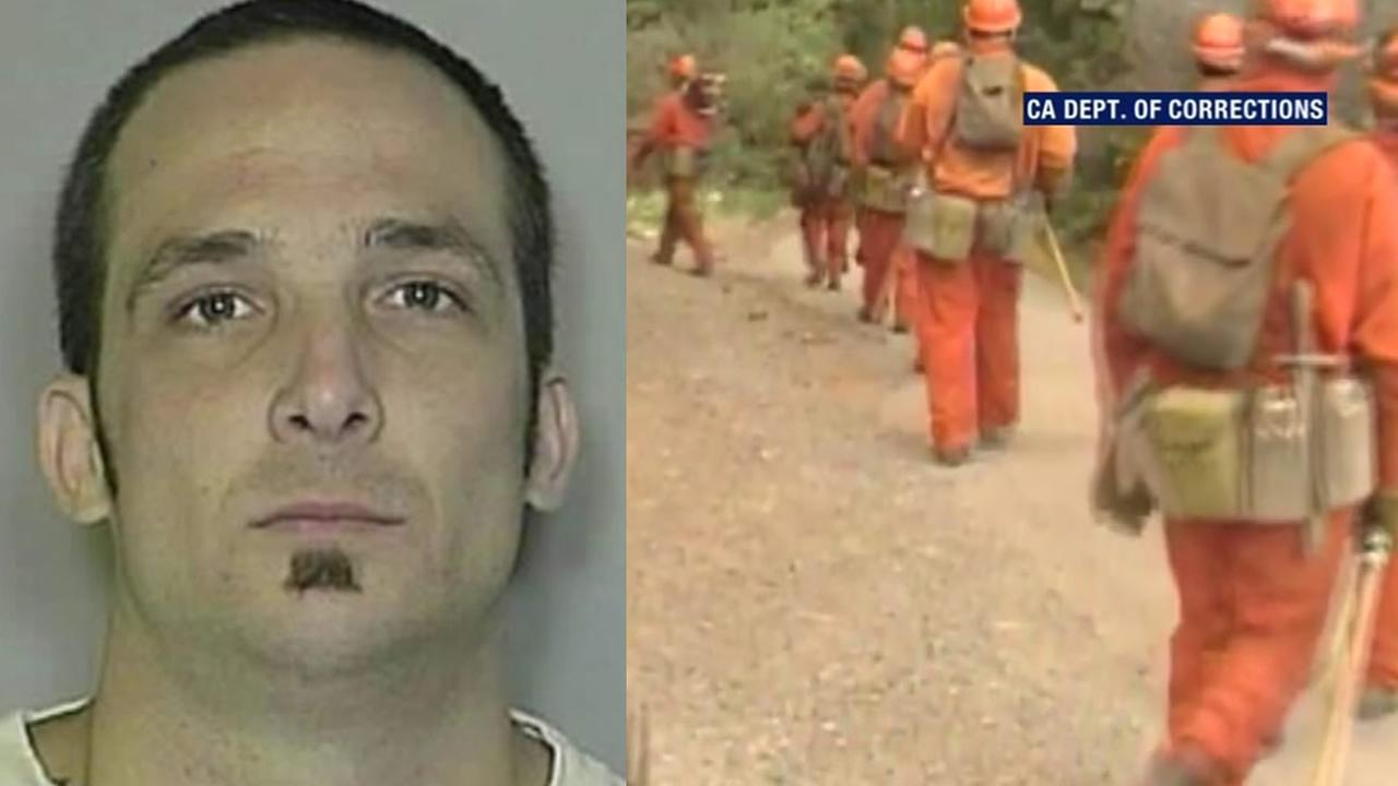 A May 2010 mugshot of Damin Pashilk is pictured on the left, and inmate firefighters are seen on the right.