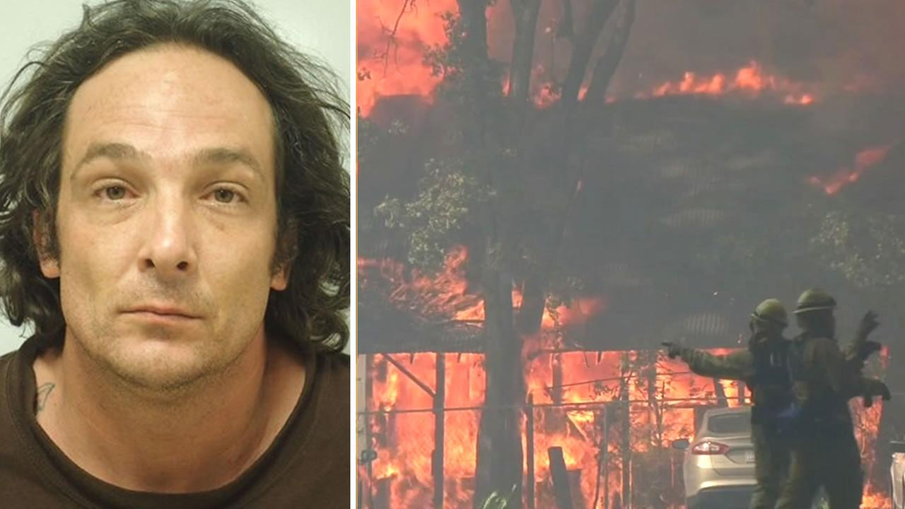 This undated image shows Damin Pashilk and flames from the Clayton Fire. The 40-year-old is accused of starting the brush fire that destroyed homes in Lake County, Calif.