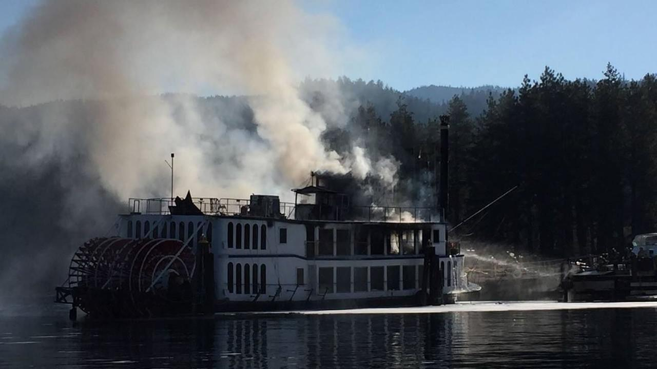 This image shows the Tahoe Queen boat that caught fire on August 16, 2016 in Stateline, Nevada.