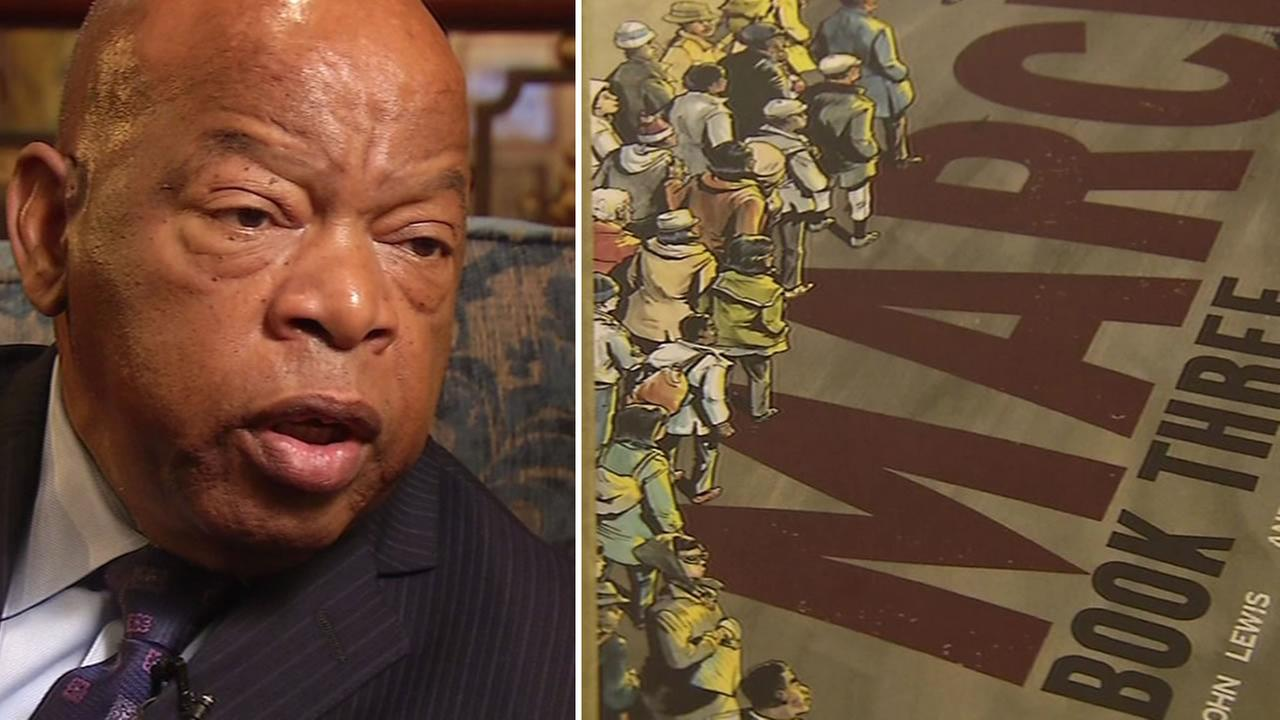This image shows civil rights legend John Lewis and the third installation of his graphic novel March.