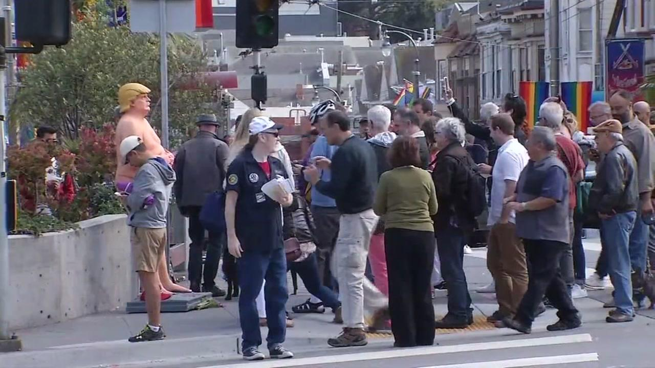 A nude statue of Donald Trump drew big crowds in San Franciscos Castro District on Thursday, August 17, 2016.KGO-TV