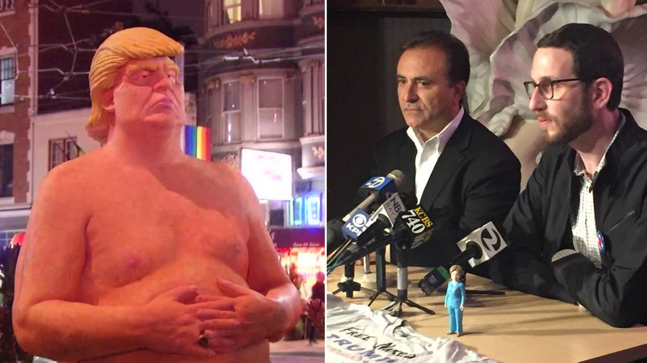 San Francisco Supervisor and Lefty ODouls owner Nick Bovis hold news conference about naked Donald Trump statue, Friday, August 19, 2016.
