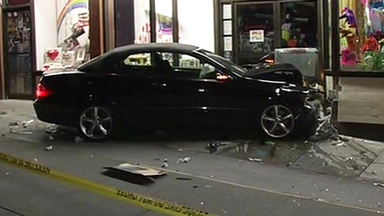 A Mercedes slammed into a business in San Francisco on Castro Street.