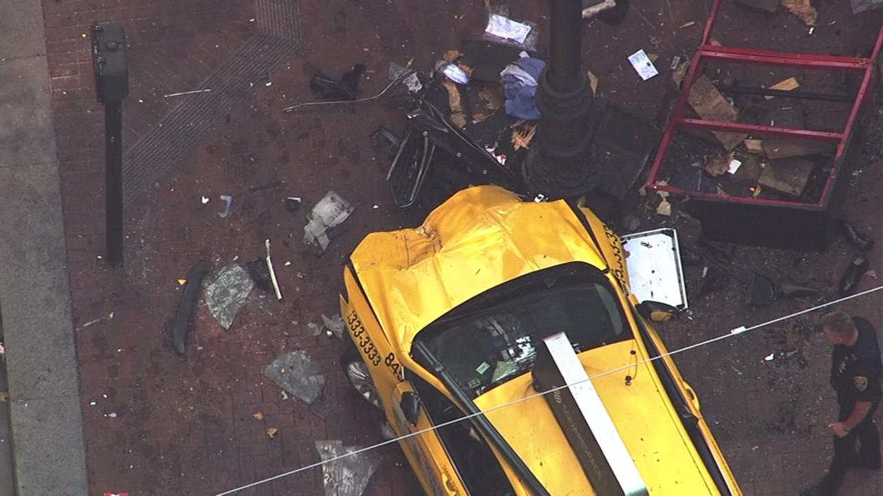 Injuries were reported after a taxi crashed into pedestrians in San Franciscos Financial District on Tuesday, August 23, 2016.KGO-TV