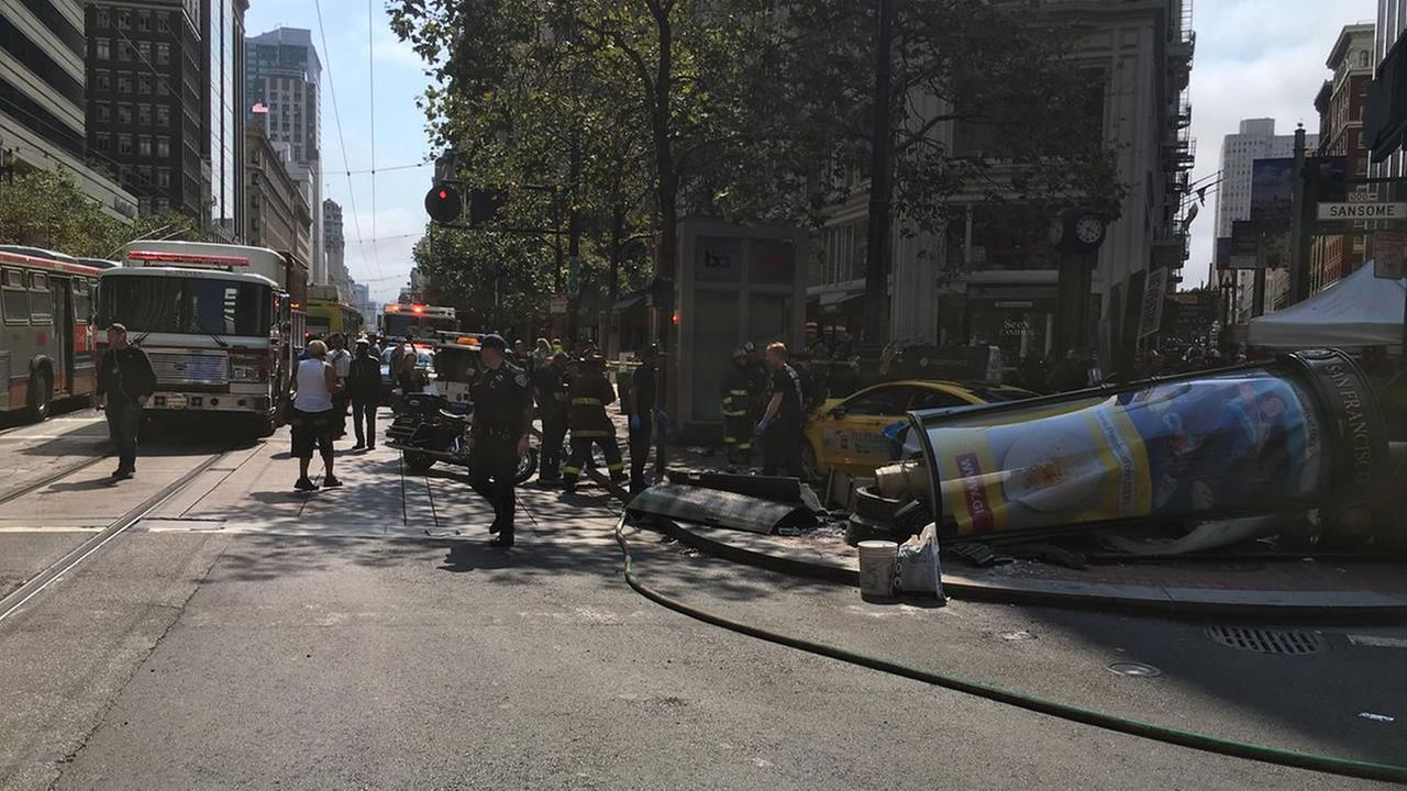 Injuries were reported after a taxi crashed into pedestrians in San Franciscos Financial District on Tuesday, August 23, 2016.@sffdpio/Twitter