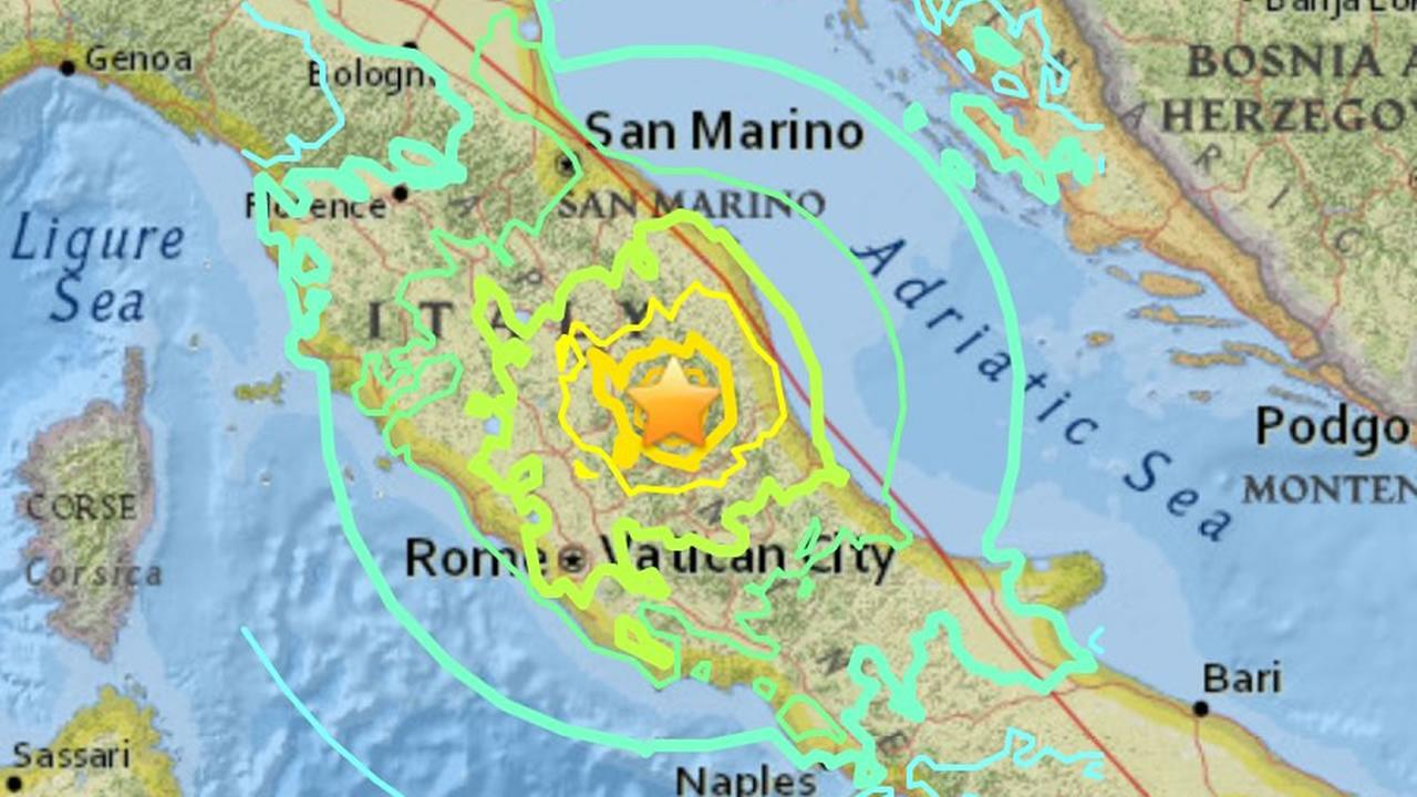 This map shows the epicenter of the 6.1 magnitude earthquake that rocked central Italy.