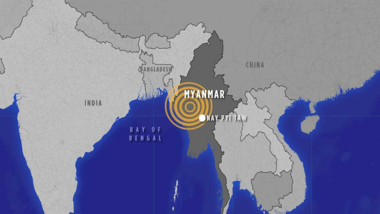 Officials say a powerful earthquake registering a preliminary magnitude of 6.8 has shaken central Myanmar.