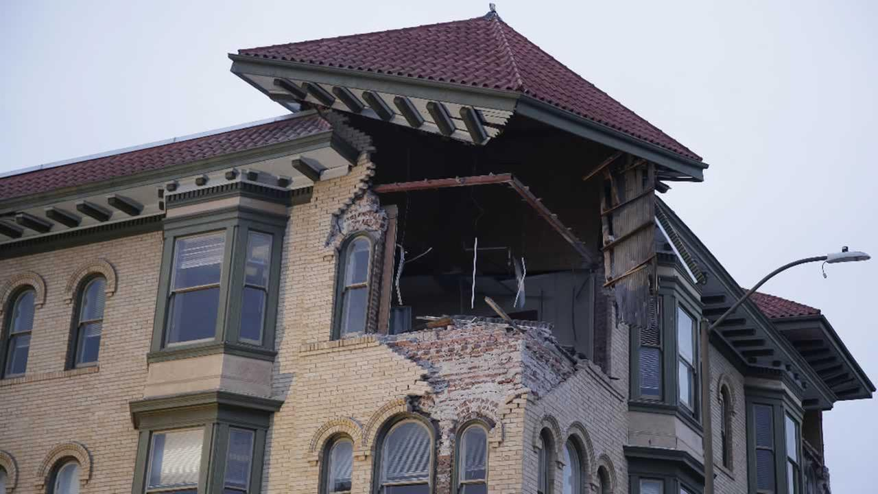 The top corner of a building is exposed following an earthquake Sunday, Aug. 24, 2014, in Napa, Calif.