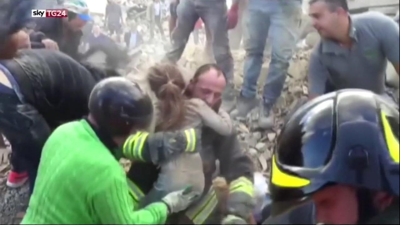 A 10-year-old girl was rescued from a flattened building in the town of Pescara del Tronto, Italy on Thursday, August 25, 2016.