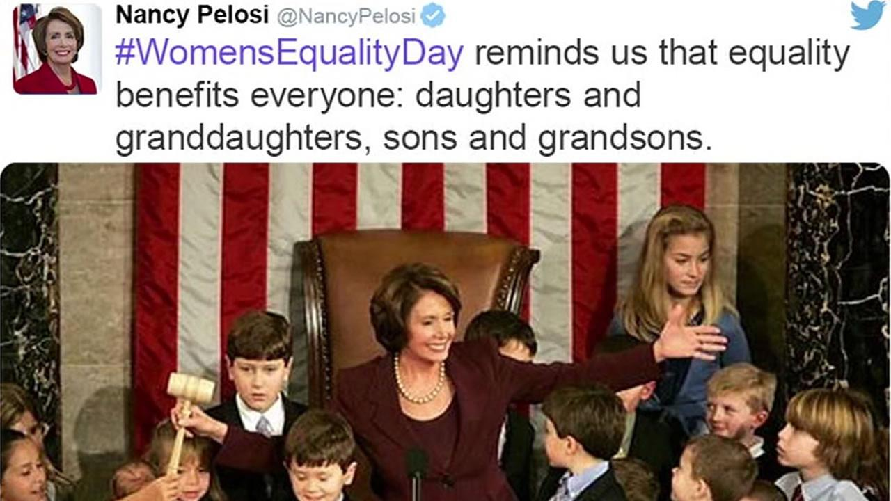 This image shows a tweet from Democratic leader Nancy Pelosi on Womens Equality Day on August 26, 2016.