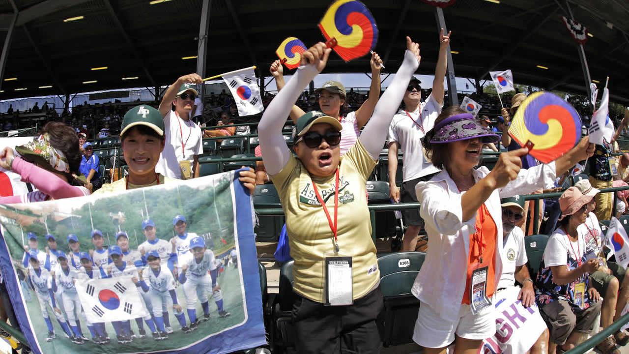 South Korea fans cheer during the International championship baseball game between Panama and South Korea at the Little League World Series tournament in South Williamsport, Pa., Saturday, Aug. 27, 2016. South Korea won 7-2.